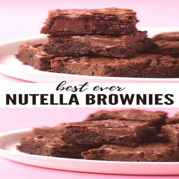 Best ever Nutella Brownies! These fudgy Nutella Brownies are made with real chocolate and have big