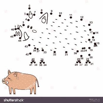 Dot to dot game for kids. Connect the numbers and draw a cute boar. Educational activity. Printable