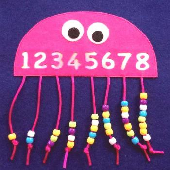 Math, counting, numbers, octopus, octopus, beads on cords, thread, wool, grade 1, preschool ...#bea