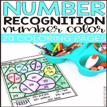Number Recognition Activities: Number Color for Special Education No prep number recognition activi