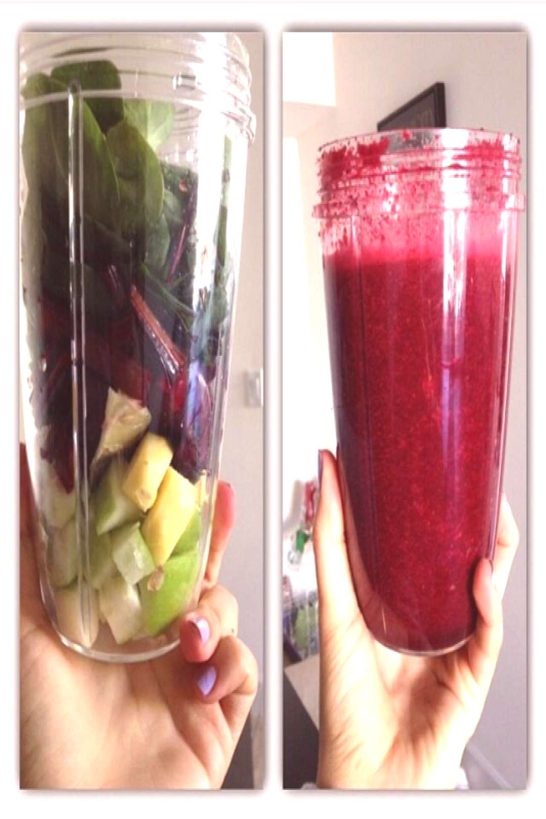 50% spinach one small green apple one lemon slice without the peel one nub of ginger (peeled) one b