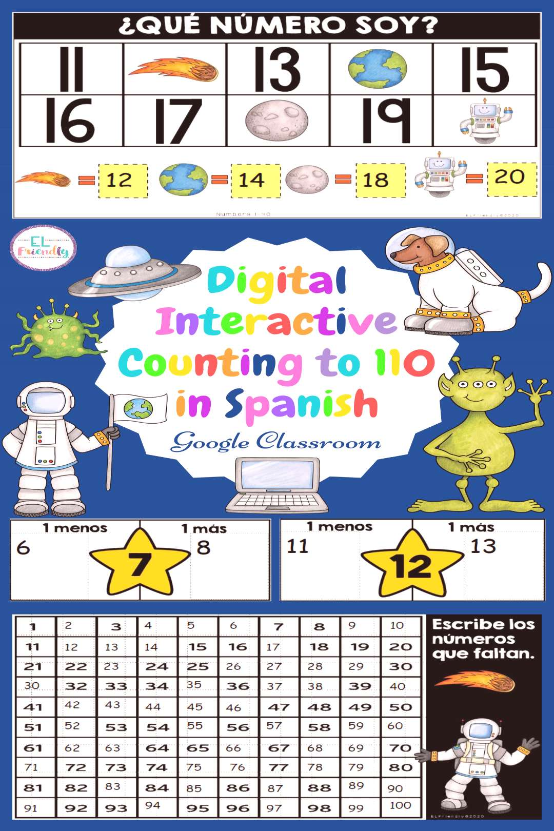Counting to 110 in Spanish for Google Classroom Use this fun paperless interactive resource to help